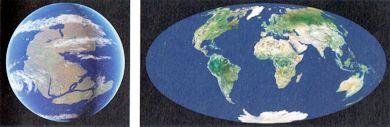 Il globo terrestre com?era circa 200milioni di anni fa, a sinistra, e come è oggi, a destra.