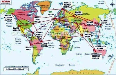 Questa è la mappa mondiale dei siti Haarp in cui si trovano anche le più ricche miniere di uranio, un caso?