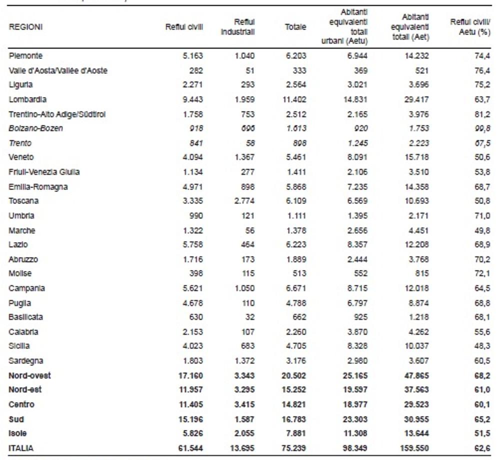 Istat carichi inquinanti confluiti