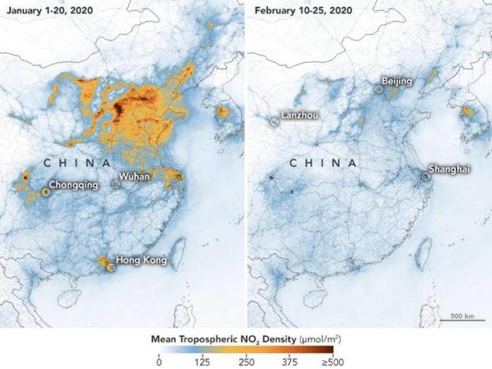 coronavirus mappa cina inquinamento